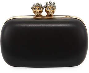 Alexander McQueen Queen & King Skull Leather Box Clutch Bag