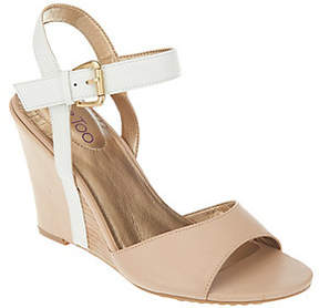 Me Too As Is Leather Wedges with Ankle Strap - Lucie