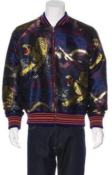 Gucci 2017 Silk-Blend Jacquard Bomber Jacket w/ Tags