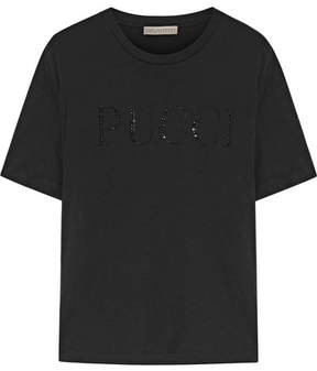 Emilio Pucci Crystal-embellished Cotton-jersey T-shirt - Black