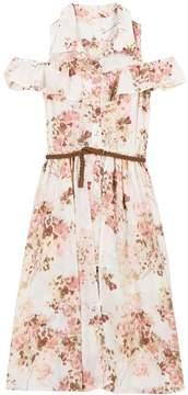 Speechless Girls 7-16 Belted Cold Shoulder Floral Walk-Through Dress