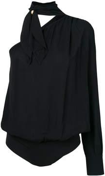 Elisabetta Franchi one shoulder bodysuit with tied neck detail