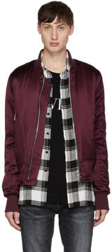 Amiri Burgundy Silk Bomber Jacket