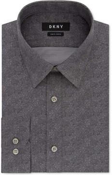 DKNY Men's Slim-Fit Performance Stretch Gray Print Dress Shirt