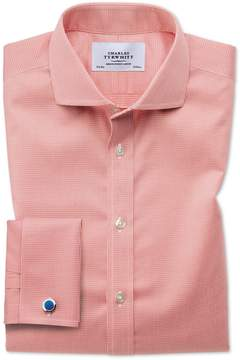 Charles Tyrwhitt Slim Fit Spread Collar Non-Iron Puppytooth Coral Cotton Dress Shirt French Cuff Size 14.5/33