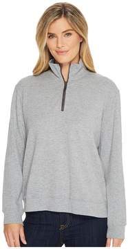 Mod-o-doc Heather Slub Rib 1/2 Zip Funnel Pullover Women's Sweatshirt