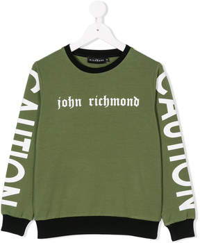 John Richmond Kids branded Caution sweatshirt