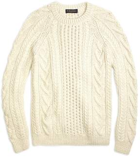Brooks Brothers Handknit Aran Cable Crewneck Sweater