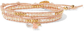 Chan Luu Gold-plated, Mother-of-pearl And Crystal Wrap Bracelet - Pink