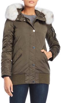 1 Madison Real Fur Hood Bomber Jacket