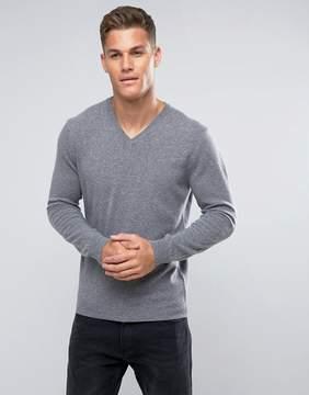 Benetton 100% Merino V-Neck Sweater In Gray