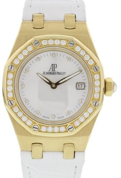 Audemars Piguet Royal Oak 18K Yellow Gold & Leather with Diamonds White Dial Quartz 33mm Womens Watch