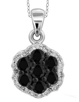 Black Diamond FINE JEWELRY 1/4 CT. T.W. White & Color-Enhanced Cluster Sterling Silver Pendant