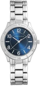 Anne Klein Silvertone Blue Dial Textured Detail Bracelet Watch