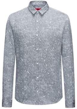 HUGO Boss Paint-Splattered Cotton Shirt, Extra Slim Fit Ero W L Dark Blue