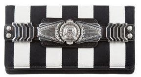 Balmain Plaque Striped Clutch