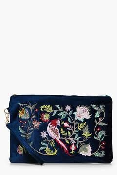 boohoo Ella Velvet Oriental Embroidery Clutch
