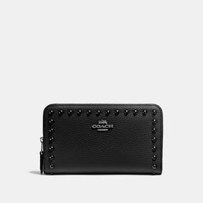 COACH Coach Medium Zip Around Wallet With Lacquer Rivets - BLACK ANTIQUE NICKEL/BLACK - STYLE