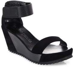 Pedro Garcia Fidelia Castoro Lame Leather Wedge Sandals