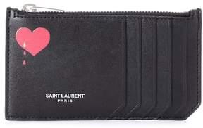 Saint Laurent Paris leather card holder - BLACK - STYLE