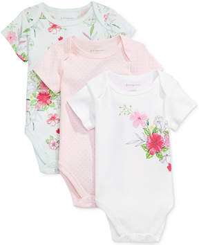 First Impressions 3-Pk. Dots & Flowers Bodysuits, Baby Girls, Created for Macy's