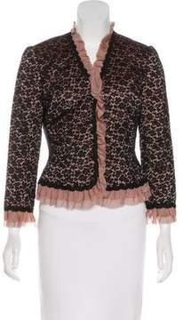 Carmen Marc Valvo Lace Ruffle-Trimmed Jacket