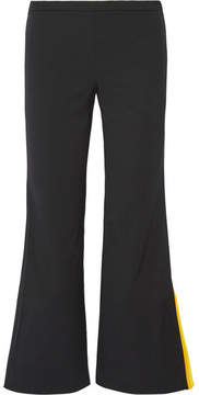 Emilio Pucci Cropped Striped Silk-trimmed Wool-blend Flared Pants - Black
