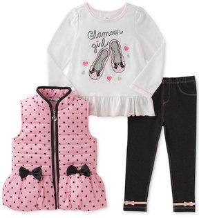 Kids Headquarters 3-Pc. Dots & Bows Vest, T-Shirt & Denim Leggings Set, Toddler Girls (2T-5T)
