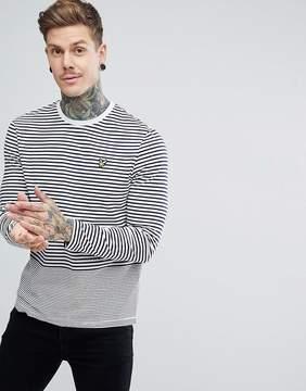 Lyle & Scott Long Sleeve Breton Stripe T-Shirt In Navy