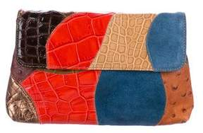Carlos Falchi Embossed Patchwork Leather Clutch