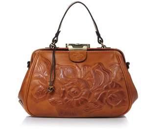 Patricia Nash Gracchi Leather Tooled Frame Satchel