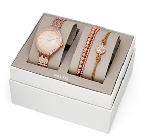 Fossil Suitor Three-Hand Rose Gold-Tone Stainless Steel Watch and Jewelry Gift Set