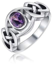 Celtic Bling Jewelry Alexandrite Knot Band Sterling Silver Ring.