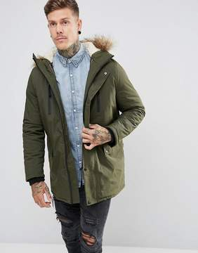 New Look Parka With Fur Lined Hood In Khaki