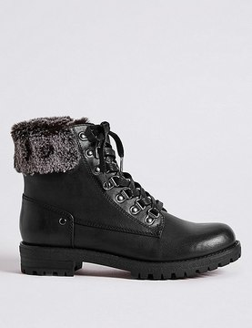 Marks and Spencer Block Heel Faux Fur Hiker Ankle Boots