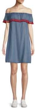 Saks Fifth Avenue RED Lla Off-The-Shoulder Shift Dress
