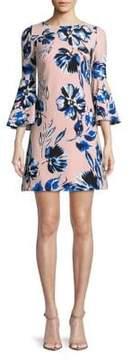 Eliza J Floral-Print Bell-Sleeve Dress