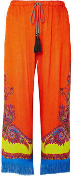 Etro Fringed Printed Knitted Wide-leg Pants - Orange