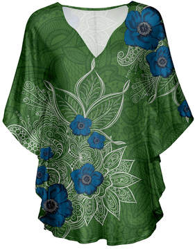 Lily Green & Navy Floral V-Neck Tunic - Women & Plus