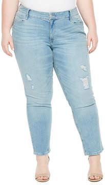 Boutique + + Light Wash Girlfriend Crop Jean - Plus