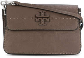 Tory Burch logo plaque clutch - BROWN - STYLE