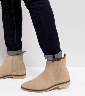 Asos Wide Fit Chelsea Boots In Stone Suede With Natural Sole