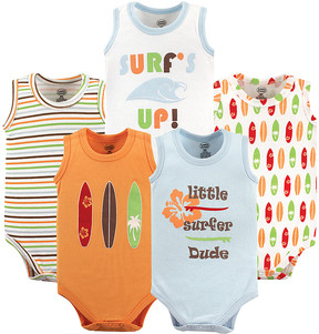 Luvable Friends White & Blue Surfer Lightweight Sleeveless Bodysuit - Set of Five