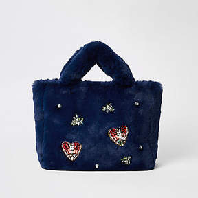 River Island Navy faux fur jewel embellished shopper