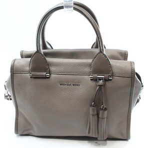 Michael Kors Gray Cinder Leather Geneva Large Satchel Bag Purse - GRAYS - STYLE