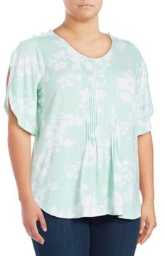 Chelsea & Theodore Plus Floral Pintucked Top