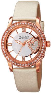 August Steiner Womens White Strap Watch-As-8176wtr