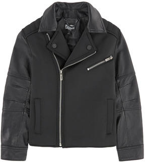Karl Lagerfeld Leather and neoprene biker jacket