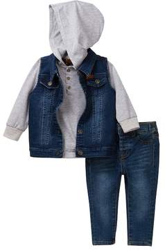 7 For All Mankind Vest, T-Shirt Hoodie, & Jeans Set (Baby Boys)