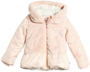 Billieblush Nylon & Faux Fur Hooded Puffer Jacket
